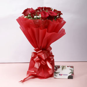 Order 12 red roses bouquet online