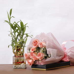 Bamboo with Pink Roses