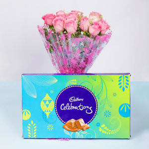 Order Pink Roses With Cadbury Celebrations online
