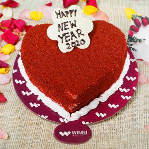 Order New Year Red Velvet Heart Shape Cake online