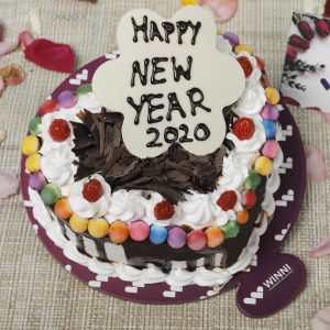Order New Year Black Forest Gem Heart Shape Cake online