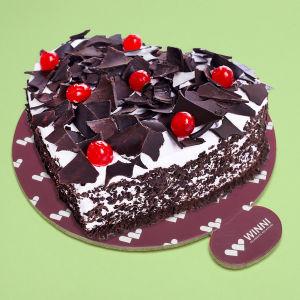 Order Heart Shape Black Forest Cake online