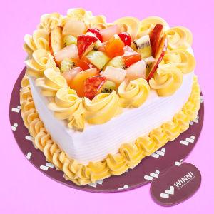 Order Delectable Fruit Heart Cake online