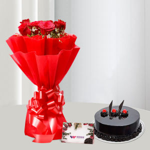 Order Red Roses and Chocolate Cake online