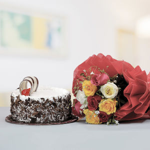 Black Forest Cake with Mixed Roses