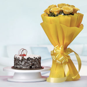 Black Forest Cake with Yellow Roses