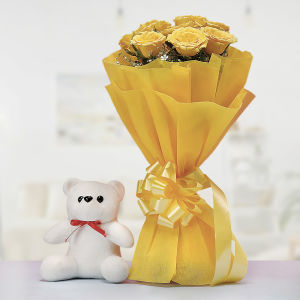 Yellow Roses with Teddy