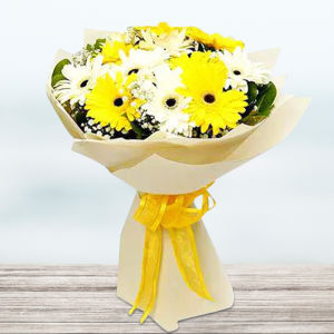 Mix Gerbera Flowers Bouquet In White Wrapping