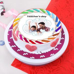 Colourful Teachers Day Photo Cake