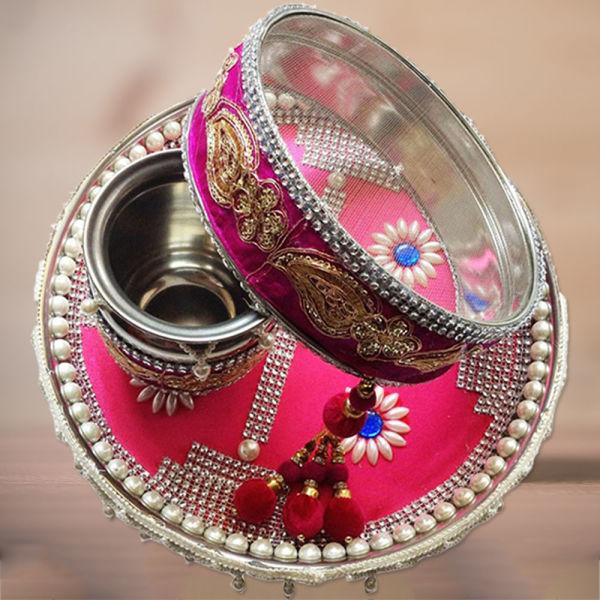 Buy Pink Karwa Chauth Decorated Thali