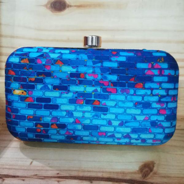 Buy Blue Bricks Print Clutch