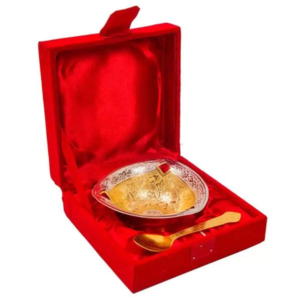 Buy Silver & Gold Plated Brass Bowl Three Corner Bowl