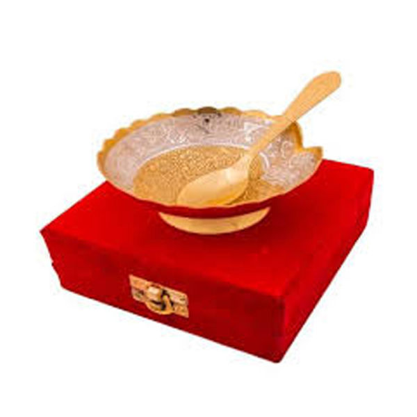 Buy Silver & Gold Plated Brass Bowl with Spoon