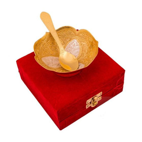 Buy Silver & Gold Plated Brass Bowl Flower Carving