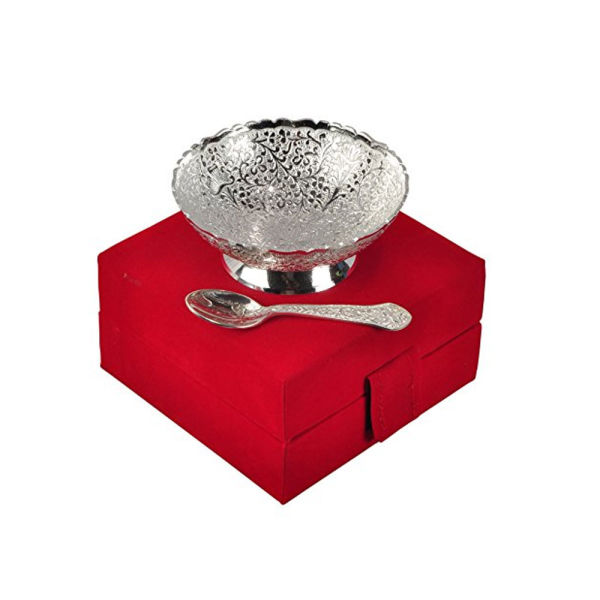 Buy Silver Plated Brass Bowl Floral Print