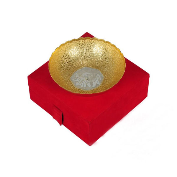 Buy Gold & Silver Plated Brass Middle Elephant Carving Bowl