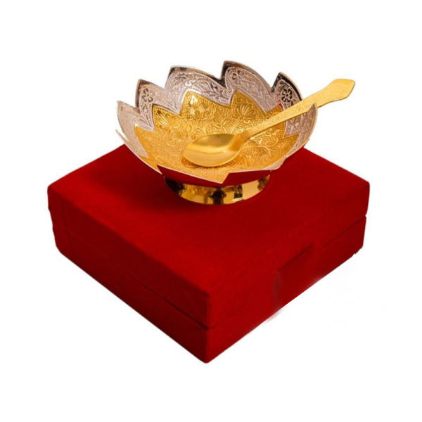 Buy Silver & gold Plated Brass Bowl