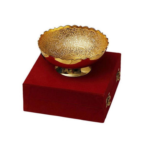 Buy Gold Plated Brass Bowl with Peacock Carving