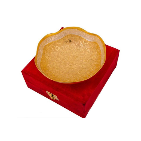 Buy Silver & Gold Plated Curve Shape Bowl