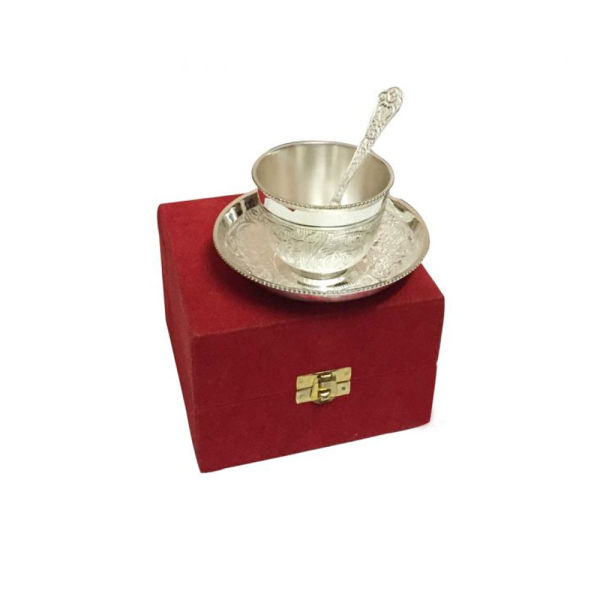 Buy Silver Plated Brass Cup & Saucer Set with Spoon