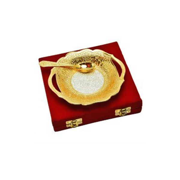 Buy Silver & Gold Plated Traditional Brass Platter