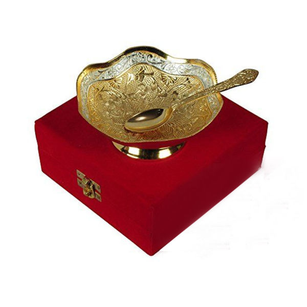 Buy Lovely Silver & Gold Plated Brass Bowl with Spoon
