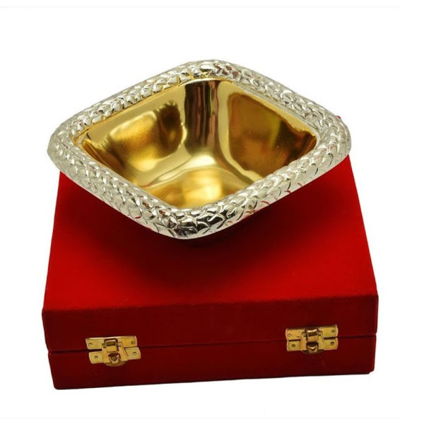Buy Silver & Gold Plated Brass Sheet Bowl Square Shape