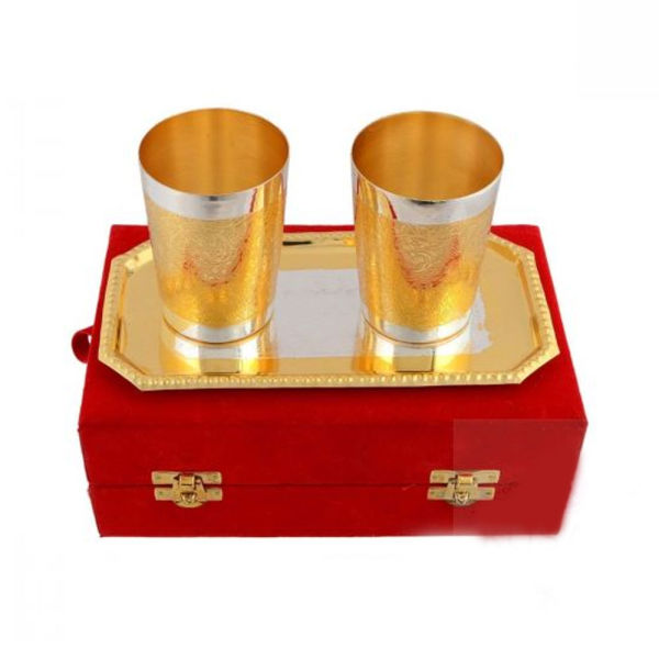Buy Silver & Gold Plated Glass Set of 3 Pcs