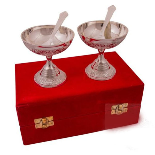 Buy Silver Plated Brass Ice Cream Bowl Set 4 Pcs