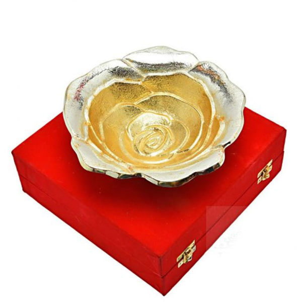 Buy Silver & Gold Plated Brass Sheet Rose Flower Bowl