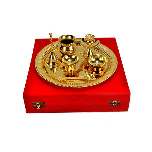 Buy Gold Plated Steel Pooja Thali with Brass Bell