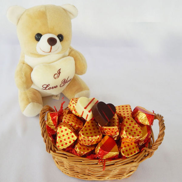 Buy Teddy Bear Valentine Chocolate Basket