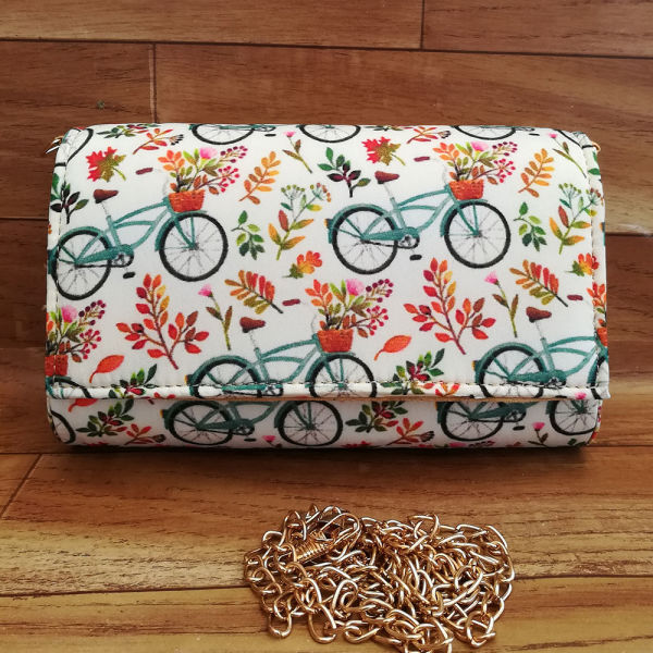 Buy Colorful Cycle and Flowers Print Clutch