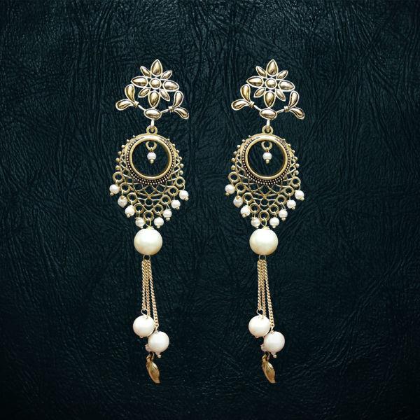 Buy White Moti Earrings