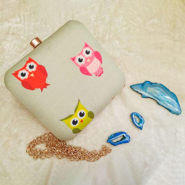 Buy Cute Owls Print Clutch