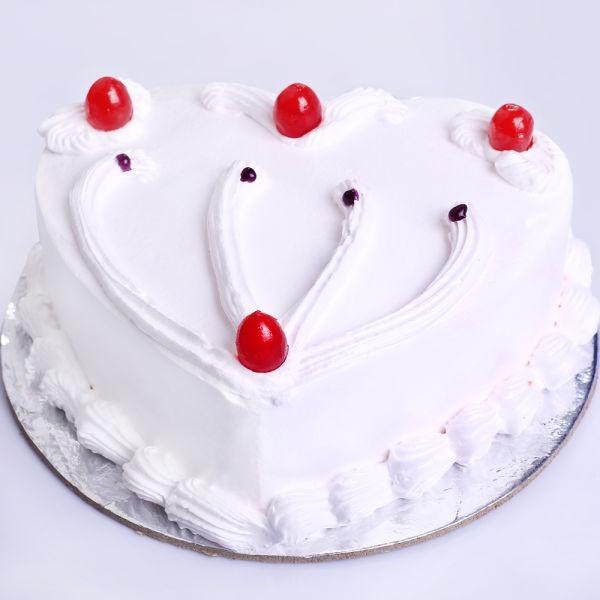 Buy Vanilla Heart Shape Cake