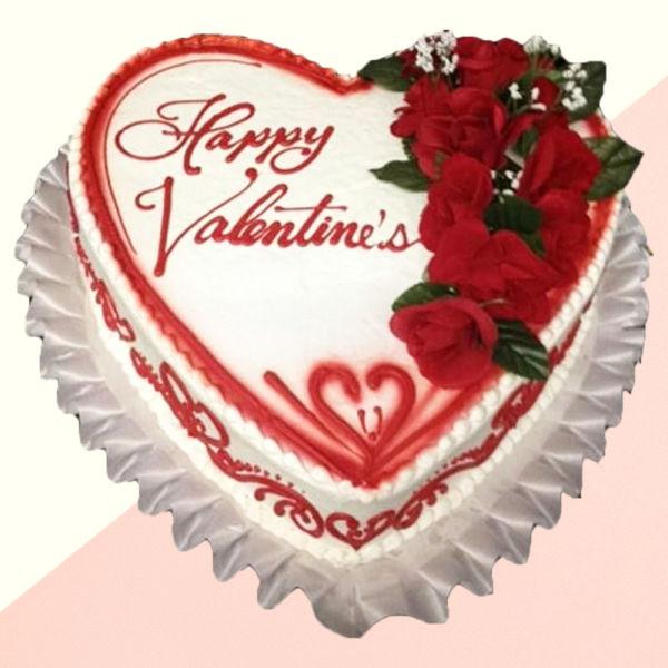 Buy Valentine special red roses Vanilla cake