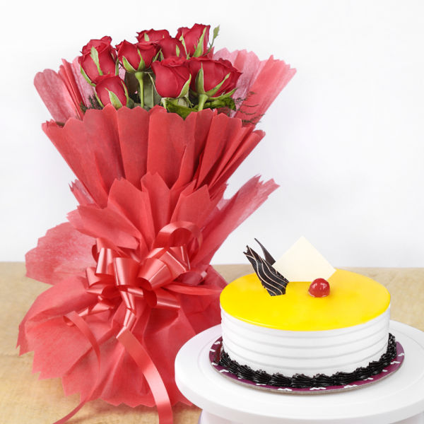 Buy Pineapple Cake and Red Roses
