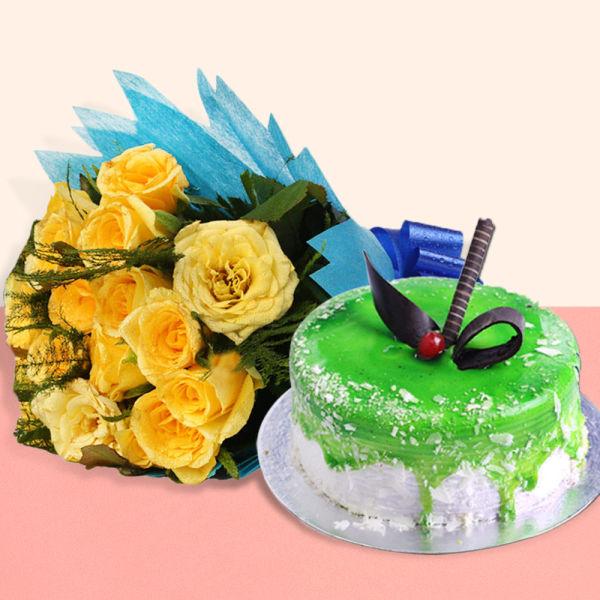 Buy Yellow Roses N Kiwi Cake