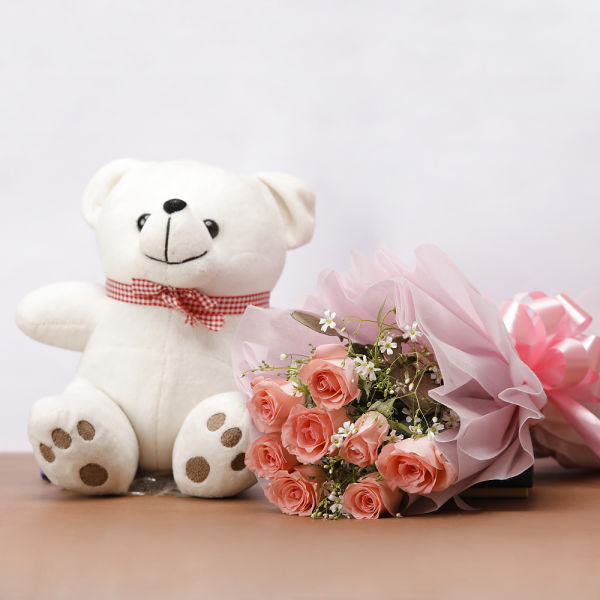 Buy Pink Roses with teddy