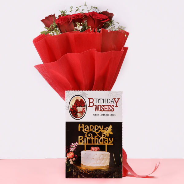 Buy Roses with Birthday Greeting
