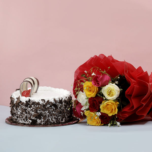 Black Forest Cake with Mixed Roses: flower delivery online