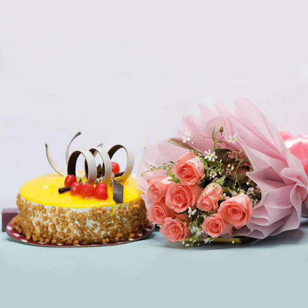 Buy 8 Pink Roses with Butterscotch Cake Combo