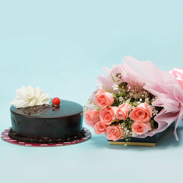 Buy 8 Pink Roses And Chocolate Cake Combo