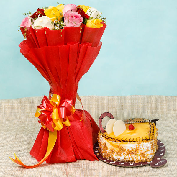 Buy Butterscotch Cake With Mixed Roses