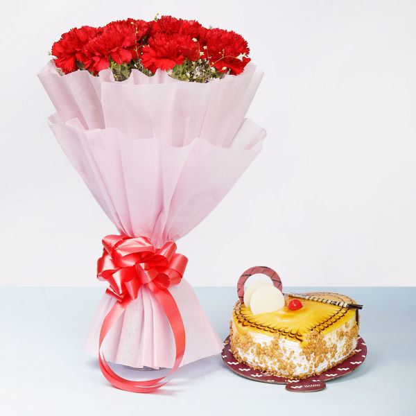 Buy Butterscotch Cake With Carnations