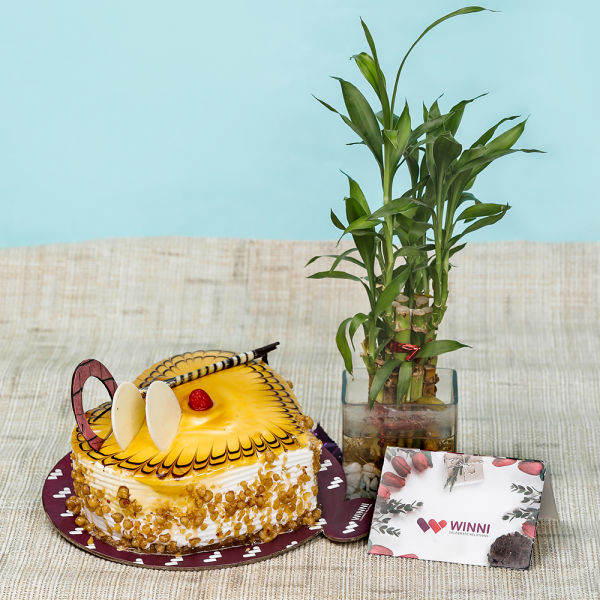 Buy Butterscotch Heart Shape Cake With Bamboo