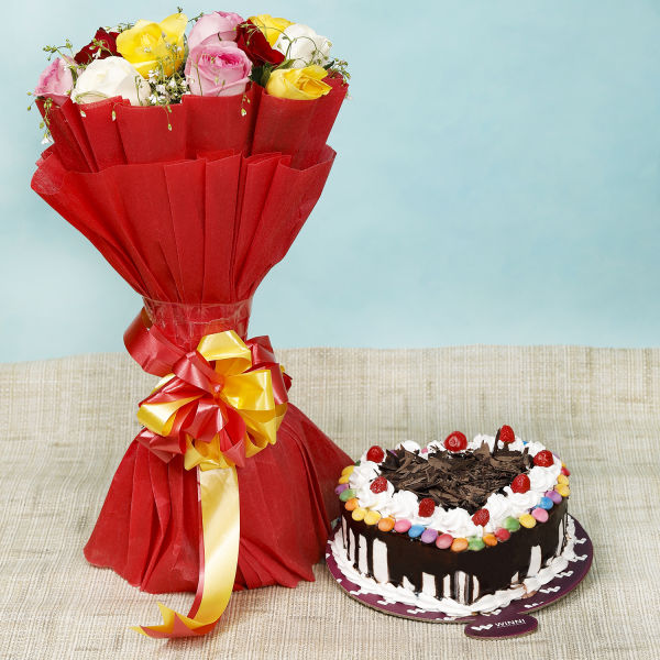 Buy Black Forest Gem Cake With Mixed Roses