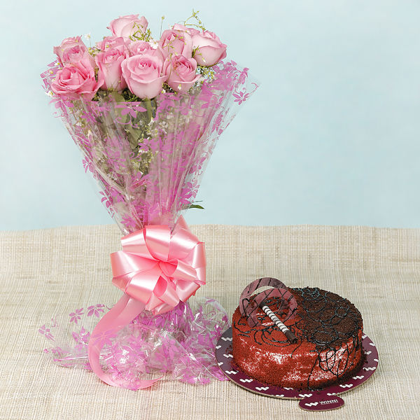Buy Choco Red Velvet Cake With Pink Roses