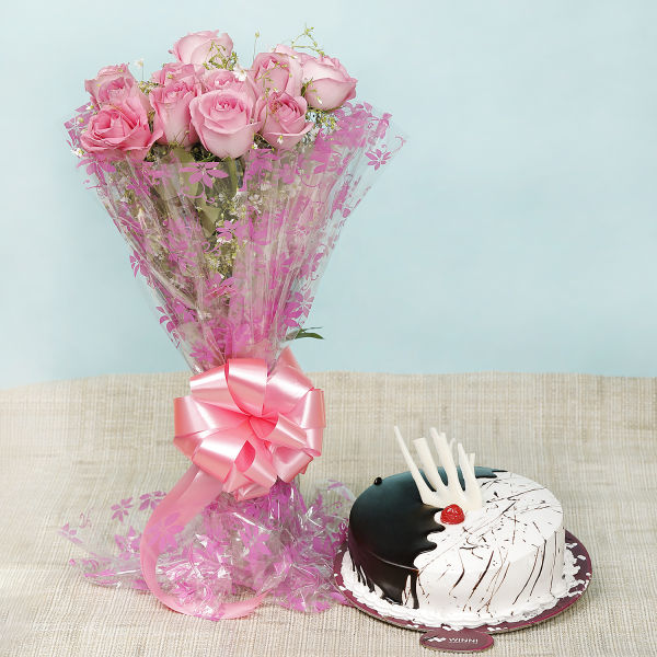 Buy Choco Vanilla Fusion Cake With Pink Roses